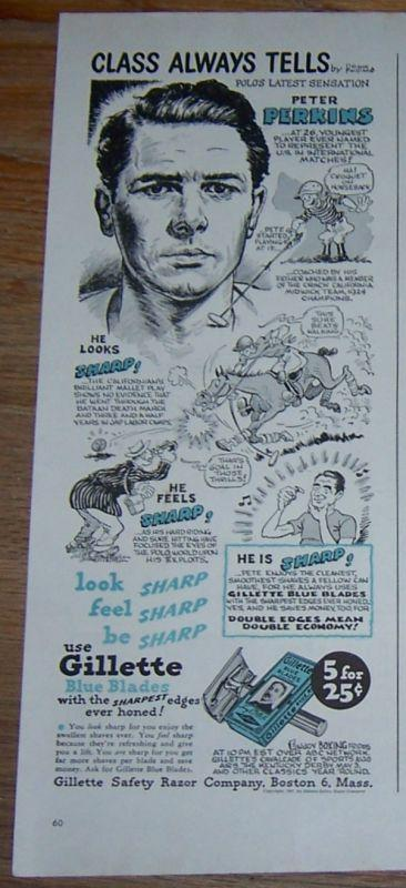 1947 Gillette Blue Blades Life Magazine Color Advertisement with Peter Perkins