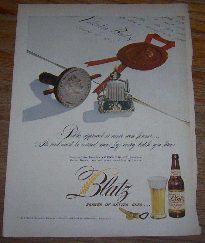 1947 Blatz Beer Life Magazine Color Advertisement Brewer of Better Beer
