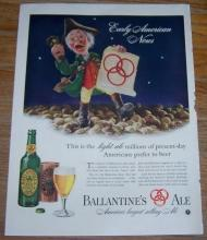 1947 Ballantine's Ale Life Magazine Color Advertisement Early American News