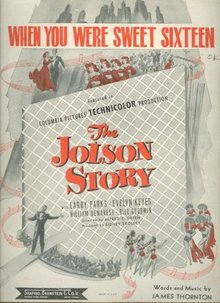 When You Were Sweet Sixteen From The Jolson Story 1944 Sheet Music