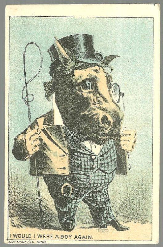 Victorian Trade Card for Union Package Dyes with Horse Dressed as a Man