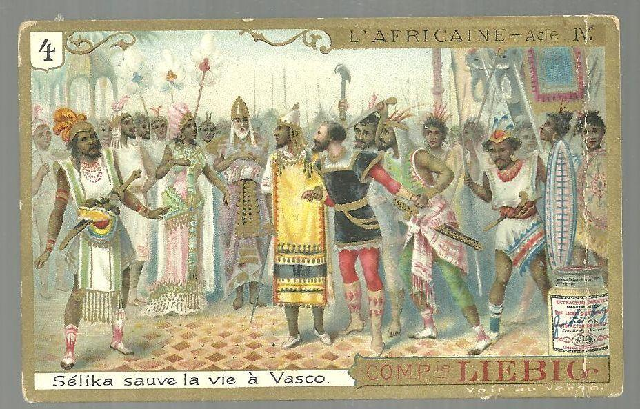 Victorian Trade Card Liebig  Fleisch-Extra with Scene from L'Africaine Act IV