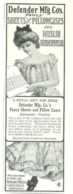 Defender Mfg Sheets Pillowcases and Underwear 1901 Ad