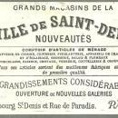 Victorian Trade Card for Ville de Saint Denis, Paris with Town Landscape