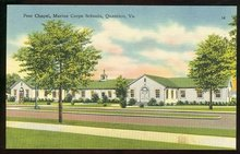 Postcard of Post Chapel, Marine Corps Schools, Quantico, Virginia