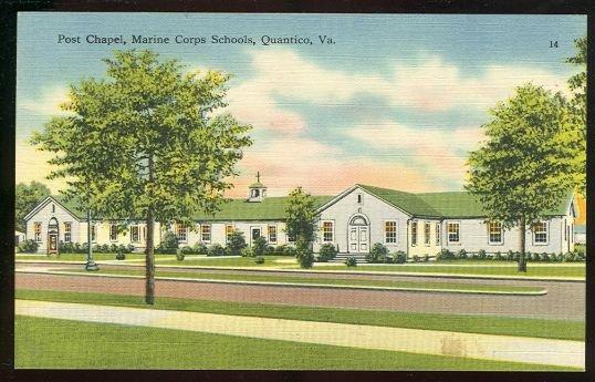 Postcard of Post Chapel, Marine Corps Schools, Quantico, Virginia