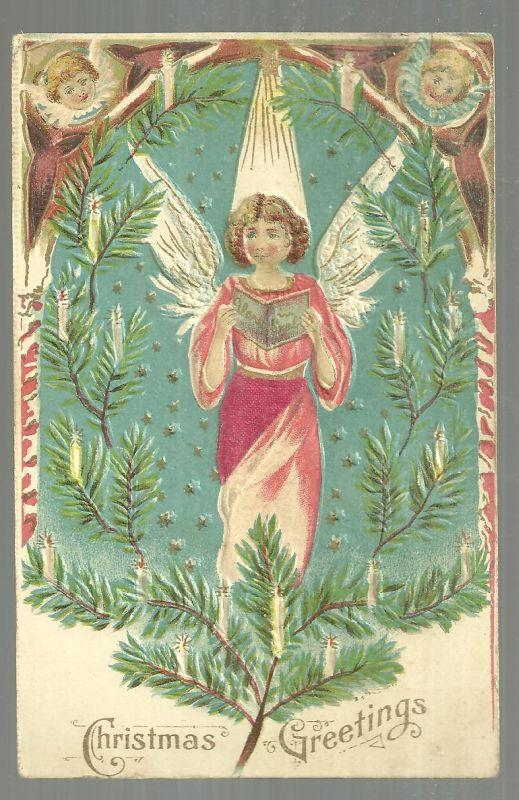 Christmas Greetings Postcard with Angels Surrounded by Evergreens and Candles