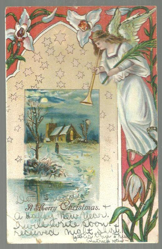 Merry Christmas Postcard with Angel Blowing Her Horn and Silver Glitter 1906