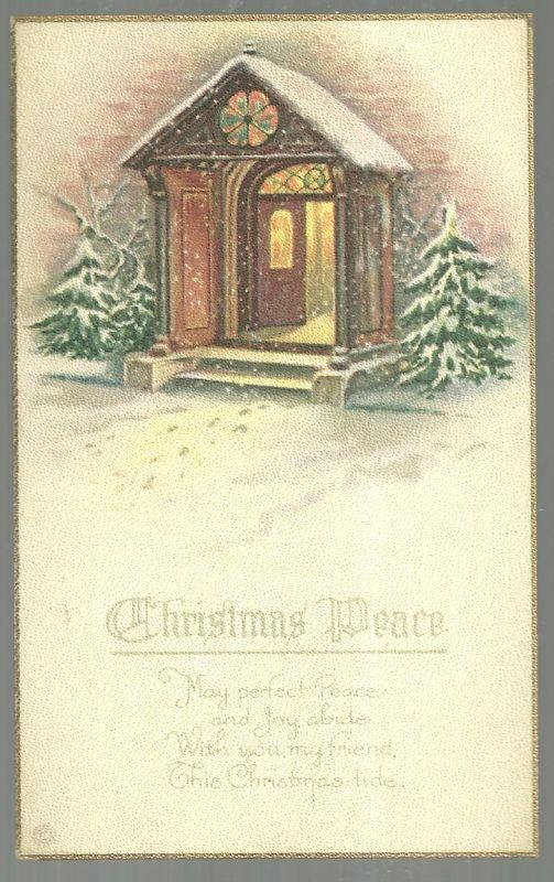 Christmas Peace Postcard with Snowy Church Doorway May Joy abide