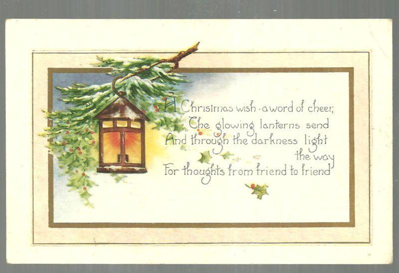 Christmas Postcard with Lantern on Snowy Branch A Christmas wish-a word of cheer