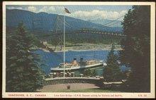 C.P.R. Steamer Lions Gate Bridge Vancouver, Canada 1953 Postcard