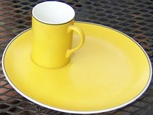 Schmid Porcelain Tacht Mustard Color Snack Set