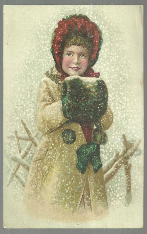 Victorian Card With Lovely Girl Dressed for Winter Standing Outside in Snow