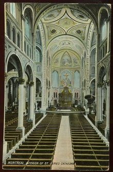 Interior St. James Cathedral, Montreal 1909 Postcard
