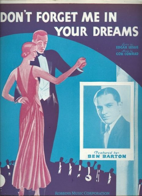Don't Forget Me in Your Dreams Ben Barton 1930 Sheet Music
