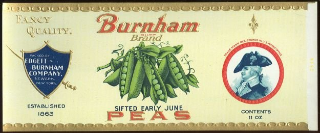 Burnham Brand Sifted Early June Peas Can Label