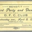 Ticket Benefit Card Party and Dance Given by D. F. C. Club 1913 Peoria Illinois