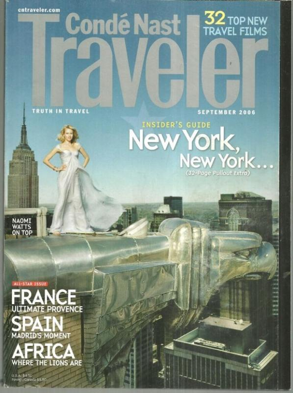 Conde Nast Traveler Magazine September 2006 All Star Issue Naomi Watts On Cover