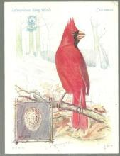 Victorian Trade Card Singer Sewing Machine American Song Birds Series Cardinal