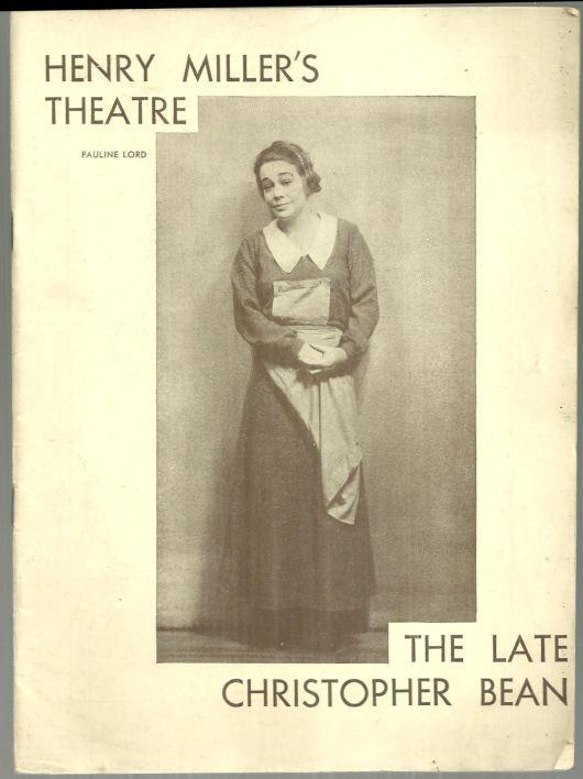 Playbill Late Chirstopher Bean 1933 Starring Pauline Lord and Beulah Bondi