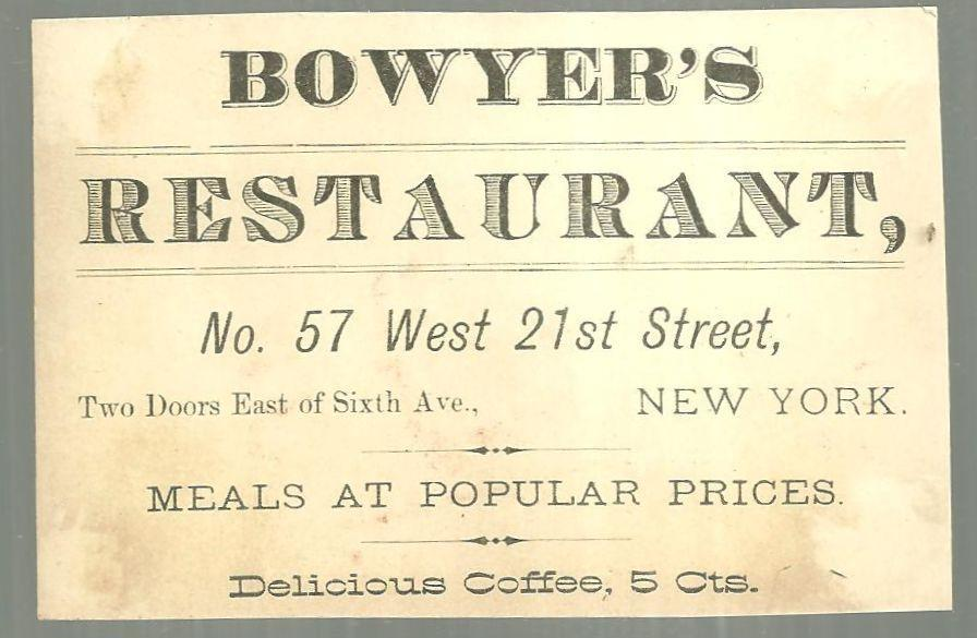Victorian Trade Card for Bowyer's Restaurant with Top Hat Filled With Flowers