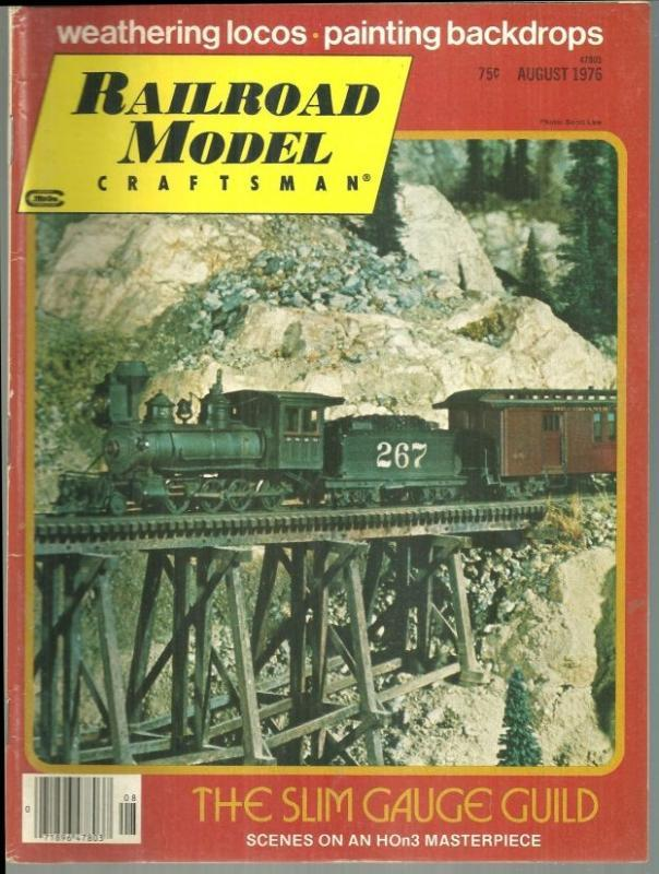 Railroad Model Craftsman Magazine August 1976 Pasedena's Slim Gauge Guild Cover