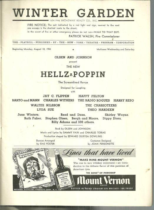 Playbill Hellzapoppin, The Streamlined Revue August 1941 Vintage Advertising