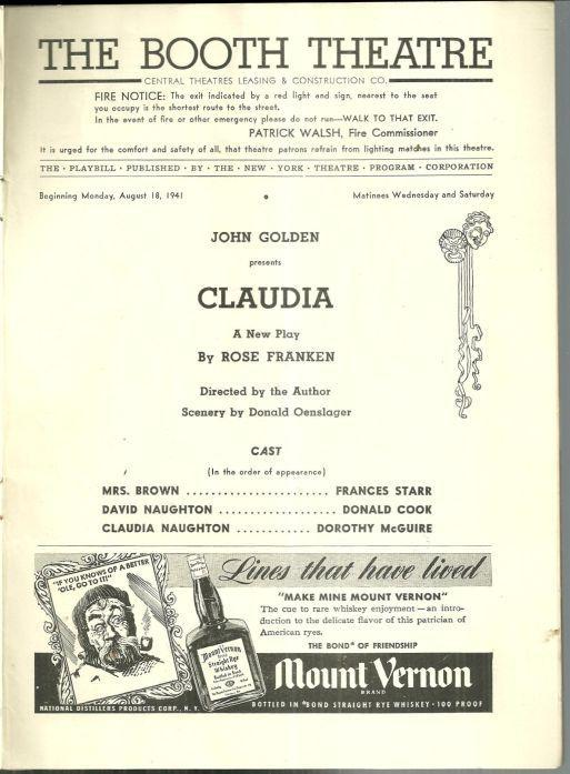 Playbill Claudia August 1941 Starring Frances Starr Donald Cook Dorothy McGuire