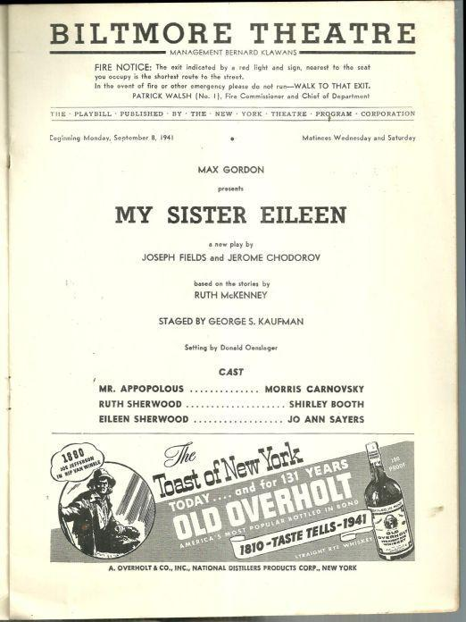Playbill My Sister Eileen September 1941 Starring Shirley Booth Vintage Ads