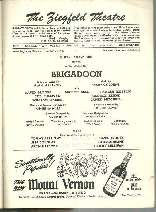 Playbill Brigadoon November 1947 Starring Marion Bell and James Mitchell