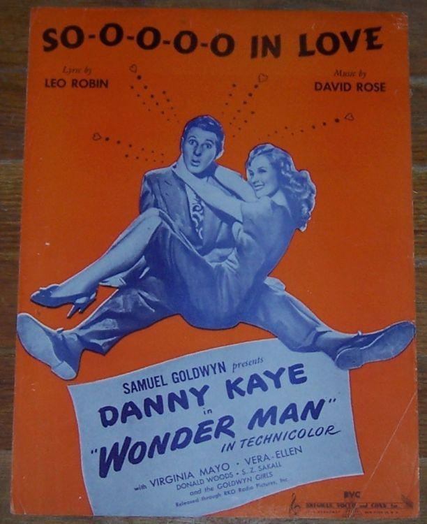 Soooo in Love Danny Kaye in Wonder Man with Virginia Mayo 1945 Sheet Music