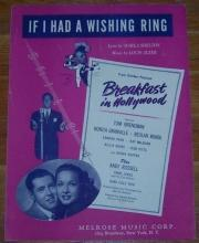 If I Had a Wishing Ring From Breakfast in Hollywood 1945 Sheet Music