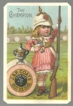 Victorian Trade Card J & P Coats Spool Cotton With Little Girl as The Champion