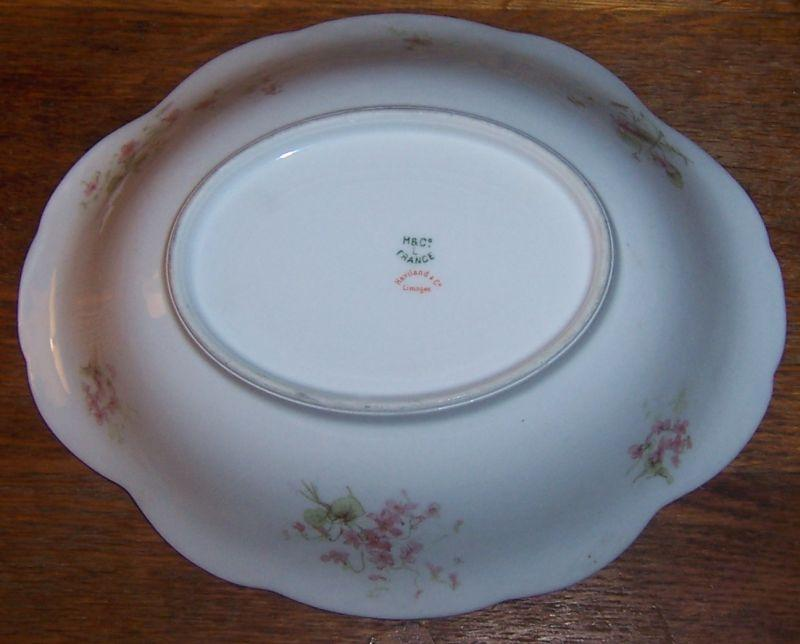 Vintage Haviland China Limoges Oval Vegetable Bowl with Pink Flowers and Gold Trim