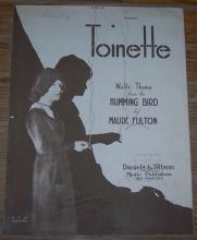 Toinette Waltz Theme From the Humming Bird by Maude Fulton 1920 Sheet Music