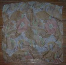 Vintage Handkerchief with Printed Brown Flowers and Leaves