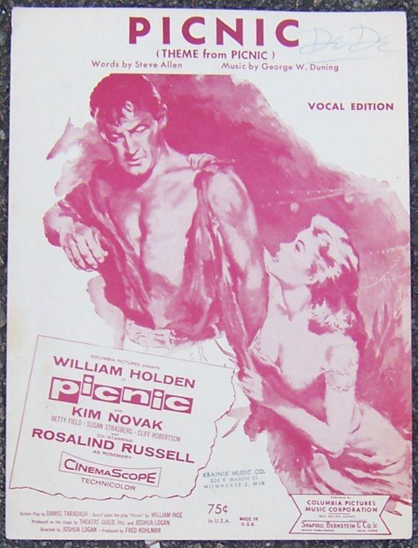 Picnic, Theme From Picnic Starring William Holden with Kim Novak Sheet Music