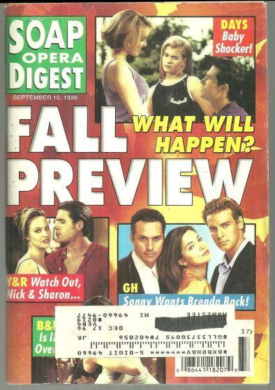 Soap Opera Digest Magazine September 10, 1996 Fall Preview on the Cover