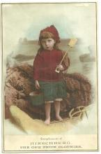 Victorian Trade Card for Hirschberg One Price Clothier with Girl at the Beach