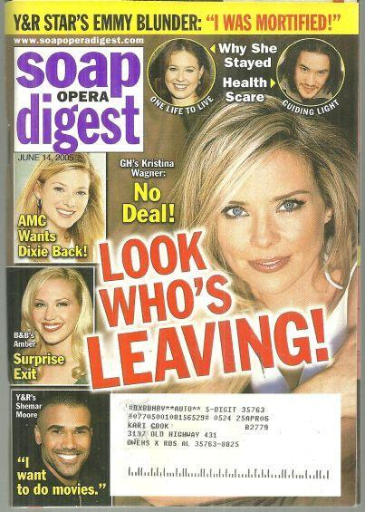 Soap Opera Digest Magazine June 14, 2005 General Hospital Kristina Wagner Cover
