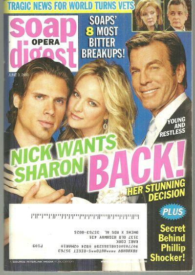 Soap Opera Digest Magazine June 9, 2009 Young and Restless Nick Wants Sharon