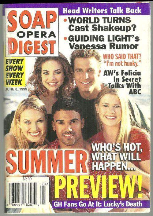 Soap Opera Digest Magazine June 8, 1999 Summer Preview on the Cover