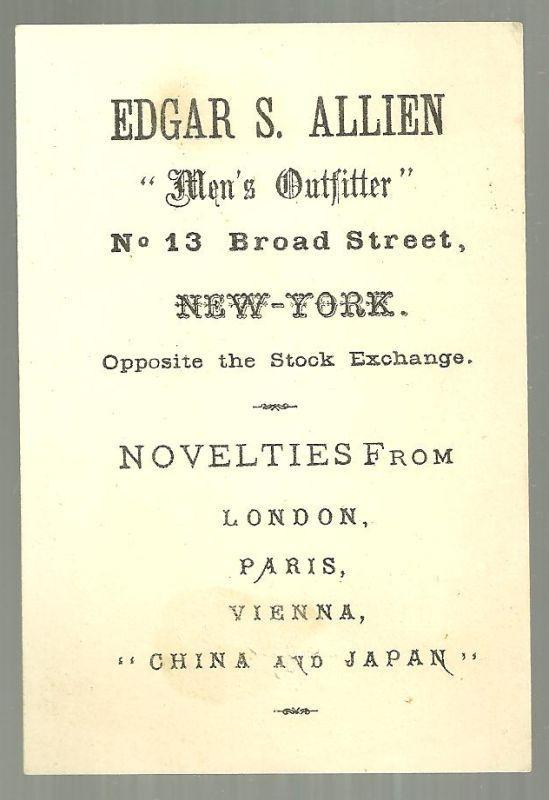 Victorian Trade Card for Edgar S. Allien Men's Outfitter African American Boy