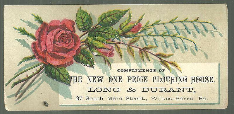 Victorian Trade Card  for Long and Durant Clothing House Wilkes-Barre PA