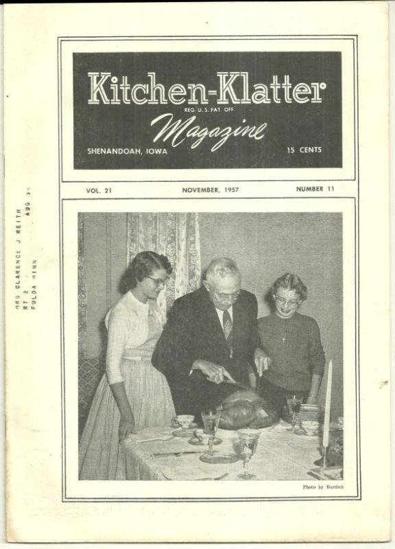 Kitchen Klatter Magazine November 1957 How Are We Thankful/Apple Party/Autumn