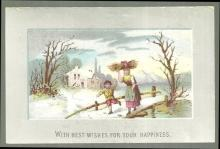 Victorian Card With Best Wishes for Your Happiness with Woman and Boy in Snow
