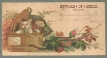 Victorian Reward of Merit with Basket of Kittens and Flowers