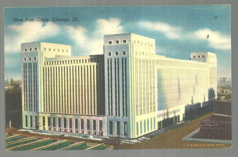 Vintage Unused Postcard of The New Post Office, Chicago, Illinois