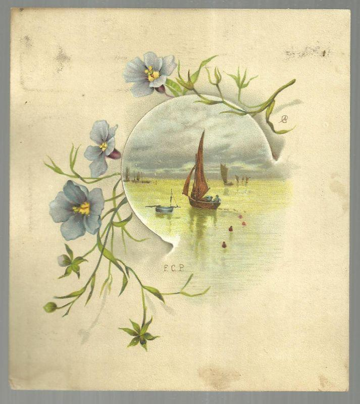 Victorian Trade Card for Dr. C. McLane's Liver Pills With Sail Boat and Flowers