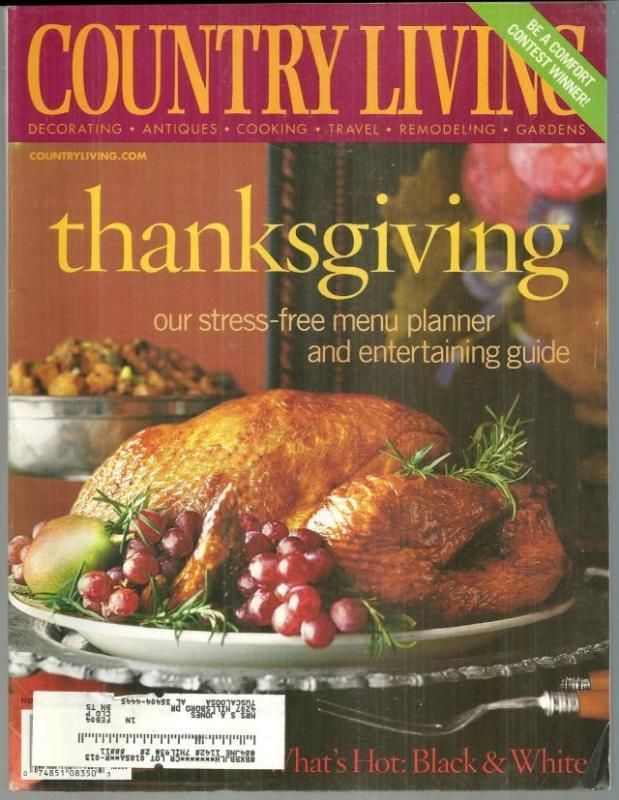 Country Living Magazine November 2003 Country Living Cooks/Thanksgiving